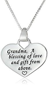 "Sterling Silver ""Grandma"" Reversible Heart Pendant Necklace, 18"""