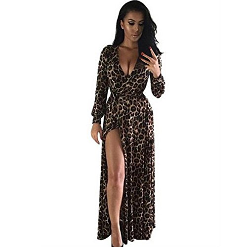 Orangeskycn Women V-Neck Long Sleeve Dress Nightclub Leopard Party Dresses (XL)
