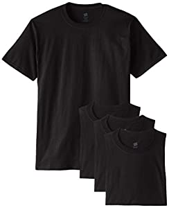Hanes Men's 4 Pack Short Sleeve Comfortsoft T-Shirt, Black, Medium
