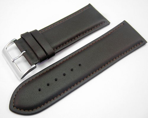 Brown Padded Leather Watch Strap Band With A Stitched Edging And Nubuck Lining 28mm