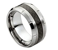 buy 10Mm - Man Or Ladies - Tungsten Carbide Beveled Edge With Cuts & Carbon Fiber Inlay Wedding Band Ring