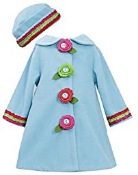 Bonnie Baby Baby Girls\' Fleece Coat and Hat Set, Turquoise, 18 Months