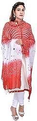 Femezone Women 's Dupatta (Red and White, 240 cm)