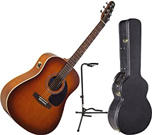Seagull Entourage Rustic Acoustic-Electric Guitar with Quantum I w/Deluxe Hardshell Case and Guitar Stand from Godin