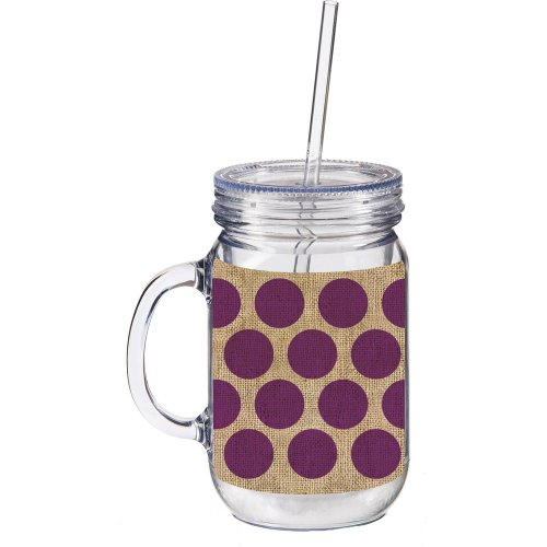 Purple and Burlap Polka Dot Double Walled Mason Jar Insulated Mug