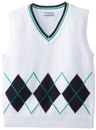 Kitestrings Little Boys' Argyle Sweater Vest, White, 5/6