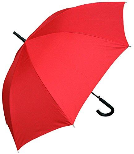 RainStoppers Auto Open European Hook Handle Umbrella, Red, 48-Inch