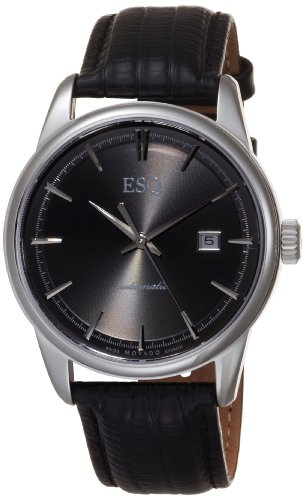 MOVADO Watch:ESQ by Movado Men's 07301373 Chronicle Black Leather Strap Anthracite Round Dial Watch Images