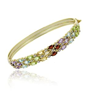 Gold Tone over Sterling Silver Multi Gemstone and Diamond Accent Three Row Bangle
