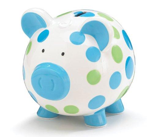 Boys Blue & Green Circles Pig Piggy Bank Ceramic Personalize Baby Nursery Decor