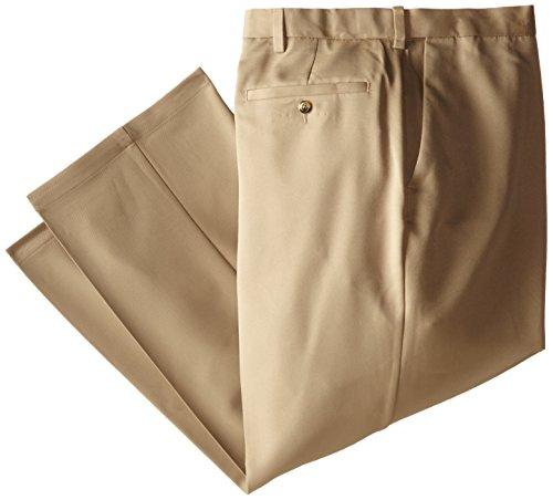 Haggar Men's Big-Tall Cool 18 Hidden Expandable Waist Plain Front Pant,British Khaki,46x30 (Big Men Casual Pants compare prices)