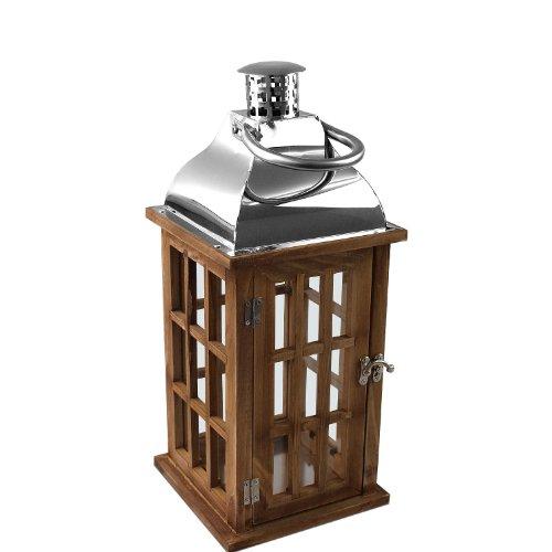 Wooden lantern with metal top 40x17x17cm outdoor garden for Wooden garden lanterns