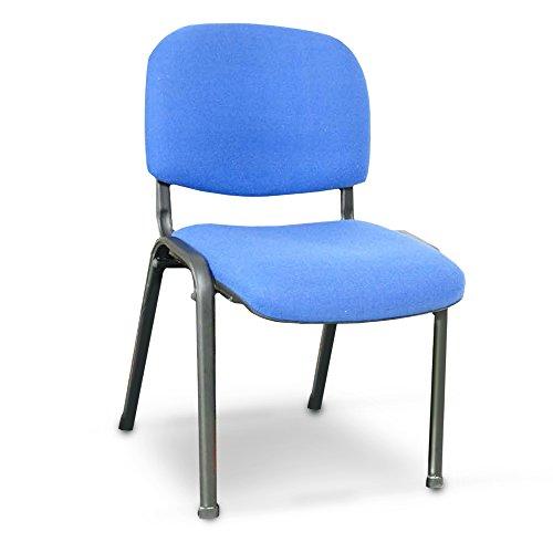 Poltrona da attesa sedia ufficio blu 54x59xH79cm studio camera struttura metallo (Blu MO294-02)