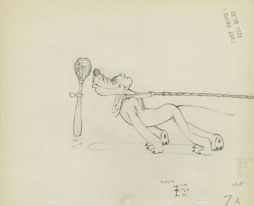 Pluto - Disney Original Production Drawing
