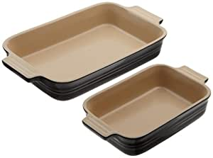 Le Creuset Stoneware 1-1/4-Quart Rectangular Baker with Bonus 16-Ounce Rectangular Baker, Black Onyx