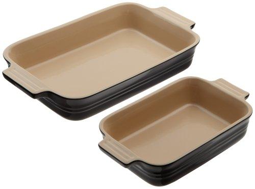 Le Creuset Stoneware 1-1/4-Quart Rectangular Baker With Bonus 16-Ounce Rectangular Baker, Black Onyx