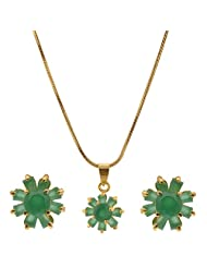 Green Cz 1 Gram Gold Plated Pendant Earing Set Without Chain