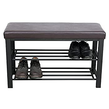 SONGMICS Metal Shoe Bench 2-Tier Shoe Rack Entryway Shoe Storage Organizer Faux Leather Top ULBS58Z