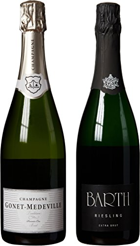 """Champagne & German Sekt (Sparkling Wine) Themed Wine Pairing - """"Hand Selected By America'S 1St Master Sommelier"""" - A Comparative Way To Explore Food & Wine! Mixed Pack, 2 X 750 Ml"""