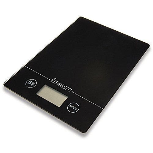 Savisto 5KG Electronic High Accuracy Digital Kitchen Scales with Large LCD Display - Black Glass Platform Scale for Food / Herbs / Spices / Coffee (Old Kitchen Scale compare prices)