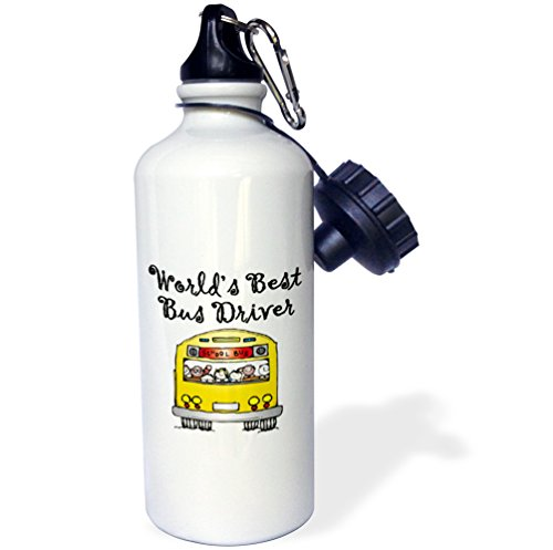 3dRose wb_193351_1 Worlds Best Bus Driver Sports Water Bottle, 21 oz, White