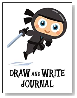 Draw and Write Journal For Boys - Cute little gray ninja makes a fun cover for this draw and write journal for younger boys.
