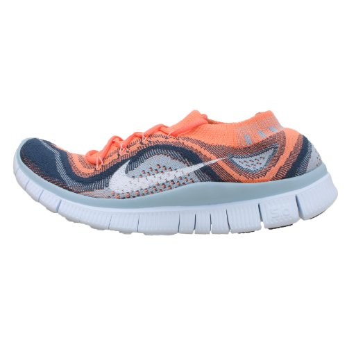 Nike Nike Free Flyknit + Women's Running Shoes, Atomic Pink/White/Squadron Blue, 7...
