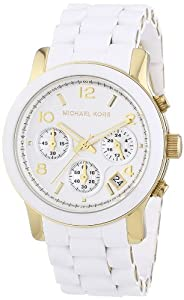 Michael Kors Mk5145 Ladies Sport Chronograph Champagne Dial Gold Toned Bracelet Pu Wrapped Links