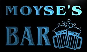 w054224-b MOYSE'S Name Home Bar Pub Beer Mugs Cheers Neon Light Sign