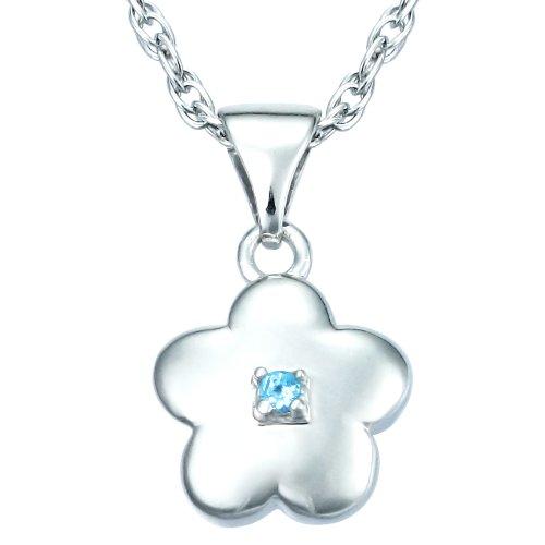 Children's Sterling Silver Blue Topaz Flower Pendant Necklace