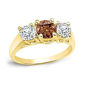 18k Brown Gold Round-cut 3-Stone Brown Diamond Engagement Ring (1 3/4 cttw, Brown, H-I, I1-I2)