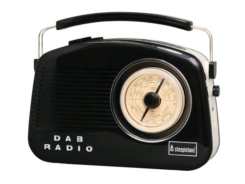 Steepletone 2 Band Dorset Retro Styled DAB Radio - Black/Beige