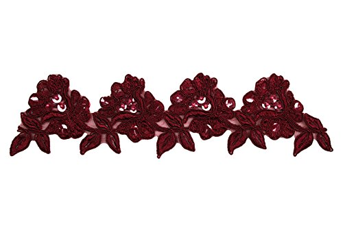 "Great Features Of Altotux 3.5"" Red, Royal Blue, Burgundy, Green Embroidery Beaded Lace Trim (Bu..."