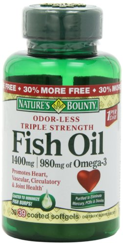 Nature 39 s bounty triple strength one per day fish oil 1400 for How much fish oil a day