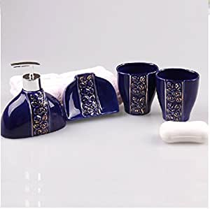 Bathroom accessory sets high temperature for Blue and gold bathroom sets