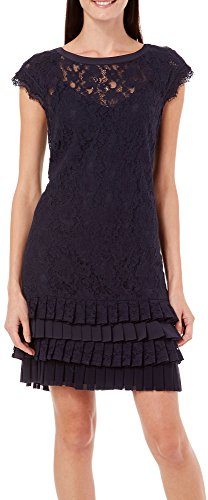 Jessica Simpson Womens Pleated Lace Dress 8 Navy Blue