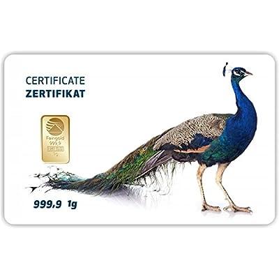 Goldbarren Geschenkkarte 0,5 g 0,5g Gramm Feingold 999.9 Nadir Gold Tier Pfau