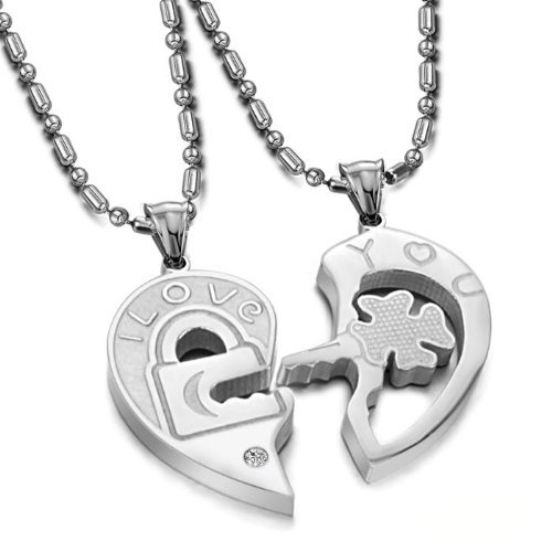 Titanium-Series-His-Hers-Matching-Set-Fashion-Valentines-Day-Gifts-Titanium-Couple-Pendant-Necklace-Love-Style-stainless-steel-love-you-heart-shaped-head-necklace-in-a-Gift-Box-ONE-PAIR