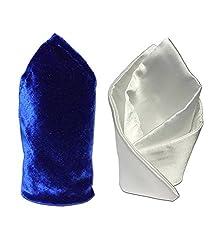 Combo of Vibhavari Men's Pocket Square-Blue(velvet) & White