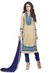 Surat Tex Cream Color Embroidered Georgette Semi-Stitched Salwar Suit-E384Dl5002Vo