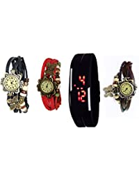 COSMIC COMBO Black Brown Red Bracelet Watch With Black Sports LED Band Watch