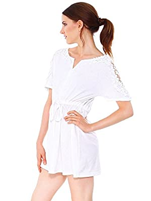 Simplicity Women Casual Lace Short Sleeve Party Evening Short Dress, White, M