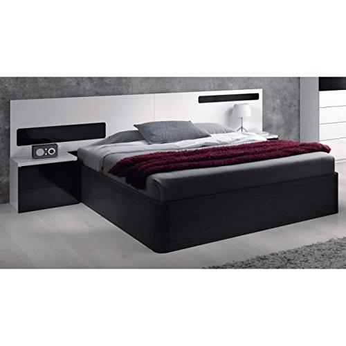 Habitdesign-0T6082BO-Cabezal-cama-matrimonio-y-mesitas-de-noche-color-Blanco-y-Negro-Brillo-medidas-257-x-92-x-34-cm-fondo