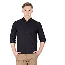 Hypernation Black Color Casual Long Sleeves Shirts For Men