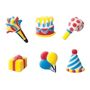 Birthday Assortment Sugar Decorations Cookie Cupcake Cake 12 Count