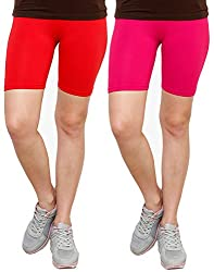 Goodtry Women's Cycling Shorts Pack of 2 Red-Pink