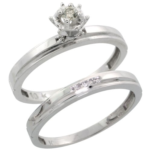 Sterling Silver 2-Piece Diamond Engagement Ring Set, w/ 0.07 Carat Brilliant Cut Diamonds, 1/8 in. (3mm) wide, Size 7