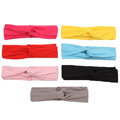 Century Star Baby Soild Color Stretchy Cotton Cross Photo Prop Heaband Hairband 7 Pcs