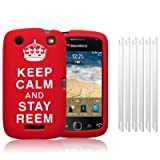 BLACKBERRY CURVE 9380 RED/WHITE &#34;KEEP CALM AND STAY REEM&#34; LASERED SILICONE SKIN CASE / COVER / SHELL + 6-IN-1 SCREEN PROTECTOR PACK PART OF THE QUBITS ACCESSORIES RANGEby Qubits
