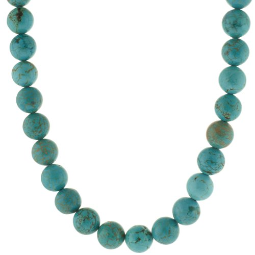 Sterling Silver and Turquoise 12mm Bead Necklace, 22